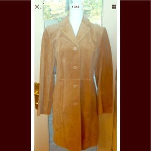 Halston studio sz m beige tan leather suede jacket